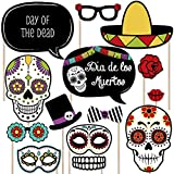 Day of The Dead - Halloween Sugar Skull Photo Booth Props Kit - 20 Count