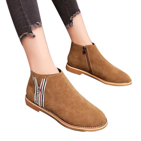 Botas De Tobillo De Cuero De La Vendimia De La Moda De OHQ Botas Zapatos Planos De Cuero Suave Zapatos De Bota CóModos: Amazon.es: Zapatos y complementos