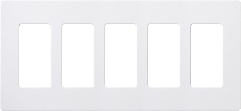 Lutron CW-5-WH Claro 5-Gang Wallplate, White