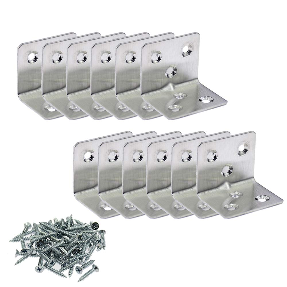 BIGTEDDY - 12pcs Corner Brace Joint Right Angle L Bracket Stainless Steel Shelf Support Fastener with Hardware Screws