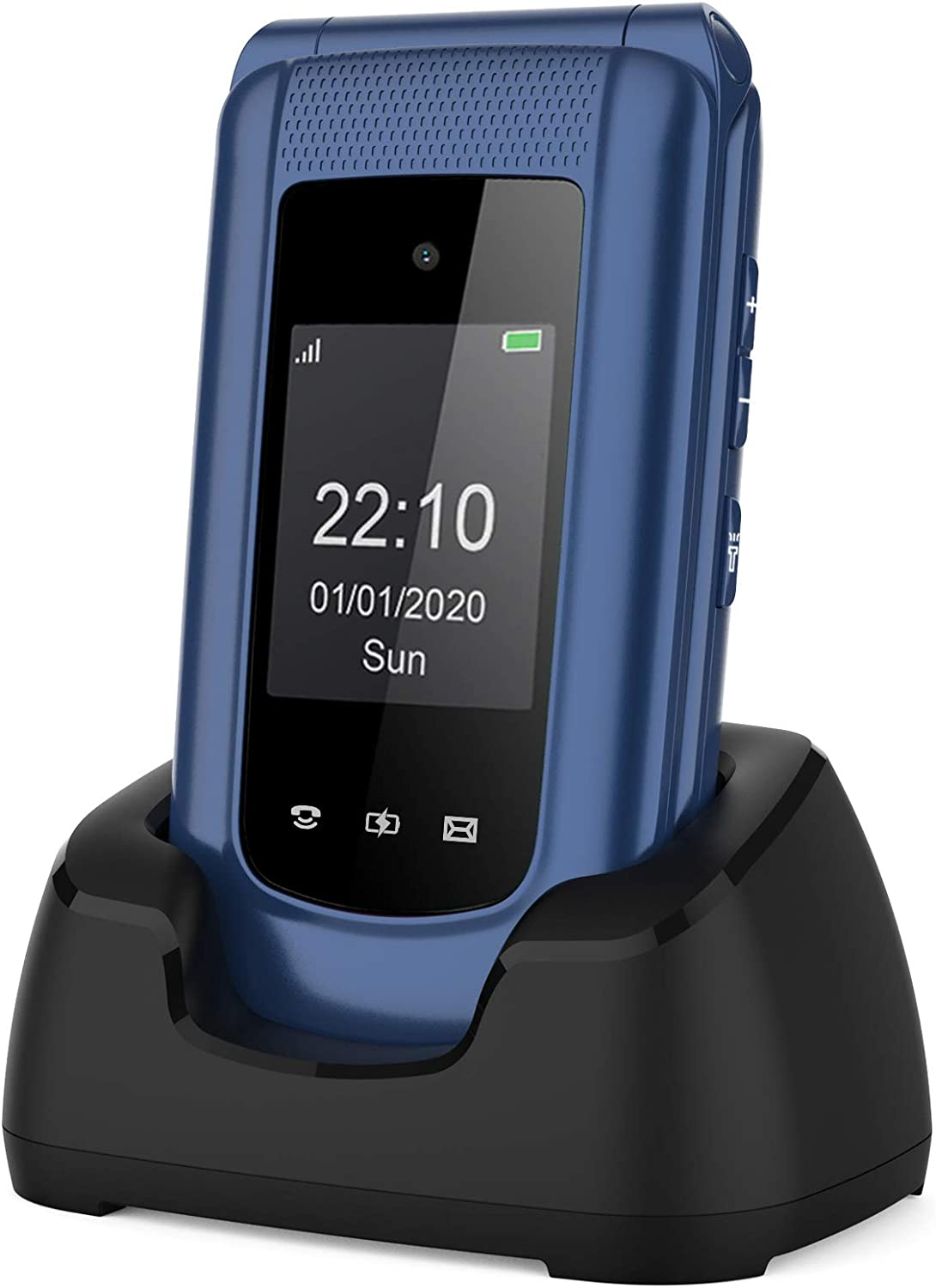 Uleway 3G Unlocked Flip Phone for Seniors Big Button Large Icon T Mobile Flip Phone SOS Button Basic Cell Phone with Charging Cradle for Senior&Kids (Blue)(Compatible with T Mobile, AT&T Network)
