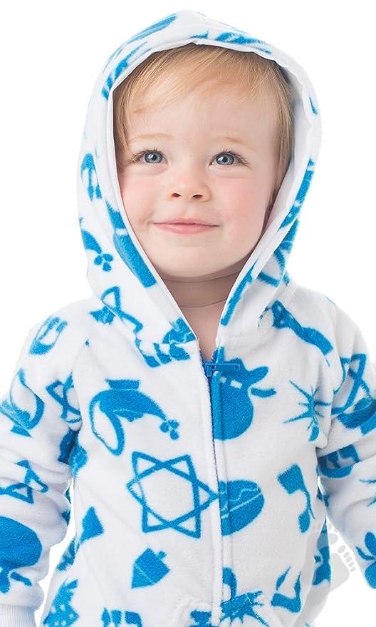 39cd4ef8d Amazon.com  Footed Pajamas - Hanukkah Fun Infant Hoodie Onesie ...