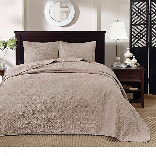 3pc Oversized King Bedspread Floor Set, Microfiber, 120 X 118, Stylish Classic Stitched, Coverlet Allover Quilt Drops Over Edge King Beds, Solid Khaki Brown Warm - 120 118 X Quilt Oversized