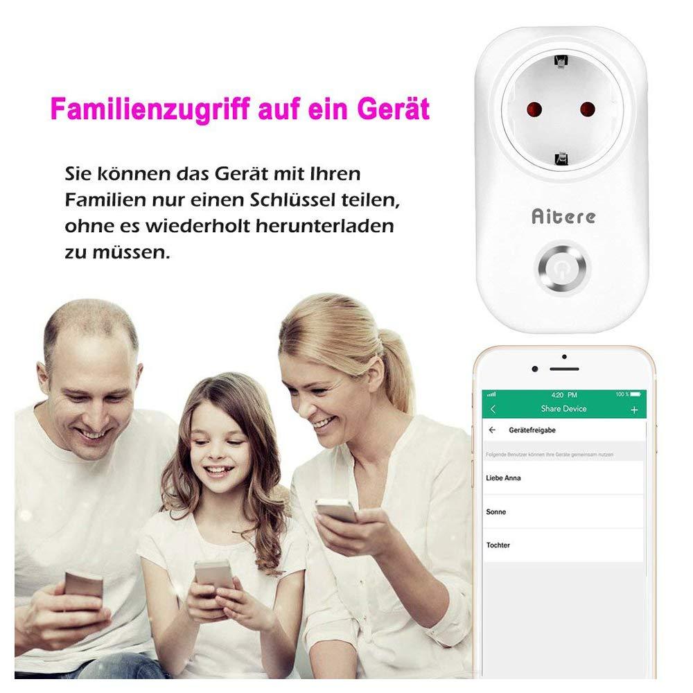 Intelligente Steckdose, Aitere Schalter Outlet Mini mit Timing-Funktion für IOS / Android, funktioniert mit Amazon Alexa [Echo, Echo Dot]& Google Home, Steuern Geräte von überall und jederzeit