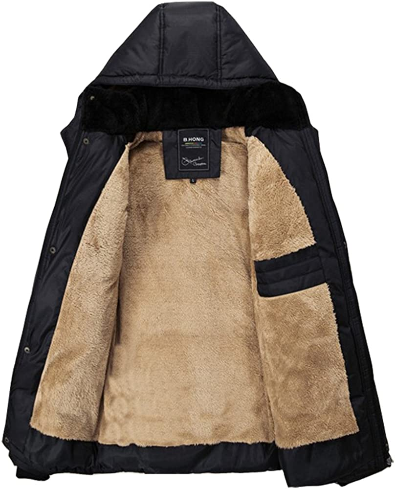 Fashciaga Men's Hooded Faux Fur Lined Quilted Winter Coats Jacket at  Men's Clothing store