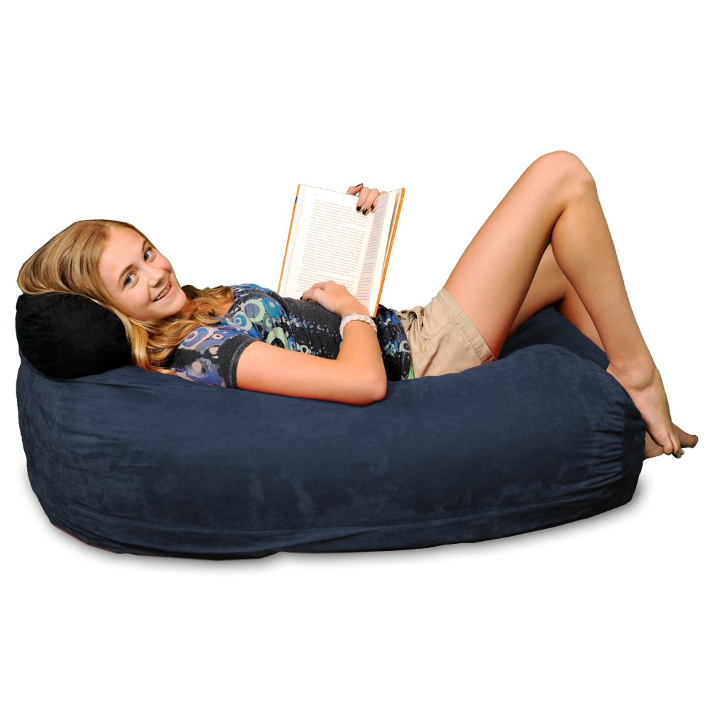 Chill Sack Bean Bag Chair: Large 4' Memory Foam Furniture Bag and Large Lounger - Big Sofa with Soft Micro Fiber Cover - Navy
