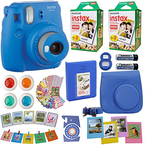 Fujifilm Instax Mini 9 Instant Camera Cobalt Blue + Fuji INSTAX Film (40 Sheets) + Accessories Kit Bundle + Case with Strap + Magnet Frames + Photo Album + Colorful Sticker Frames + Selfie Lens & MORE