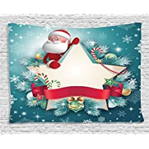 Ambesonne Christmas Decorations Collection, Santa Claus Star Banner Snowflakes Ribbon and Candy Cane Xmas Tree Winter Theme, Bedroom Living Room Dorm Wall Hanging Tapestry, 60 X 40 Inches, Red White