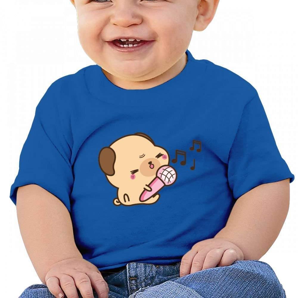 YXQMY Cute Singing for Kawaii Pug Baby Casual Round Neck Tee Shirts Short eeve T