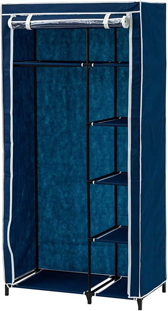 Lola Home Armario de Tela Azul con 5 baldas Azul