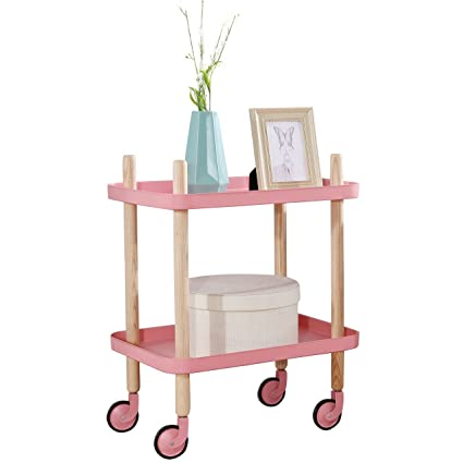 Sofa Table Side End Table With Wheels, 2 Tier Metal Nightstand Utility Cart,