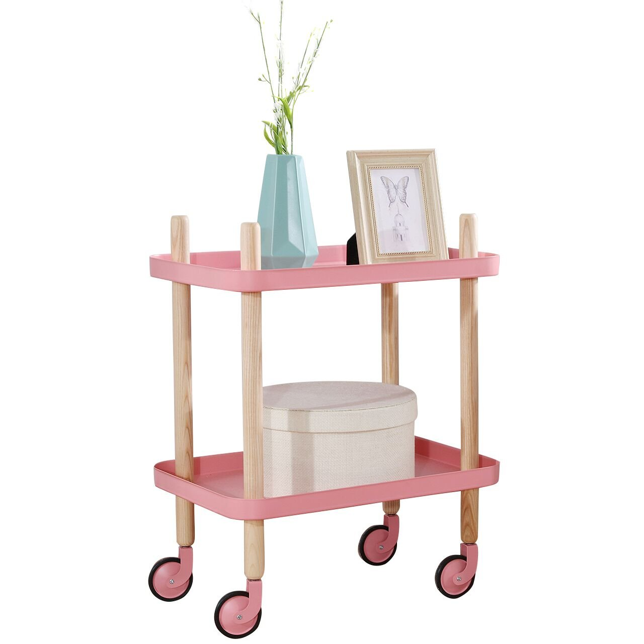 Sofa Table Side End Table with wheels, 2-Tier Metal Nightstand Utility Cart, Bathroom Storage Cart by Clothink, Pink