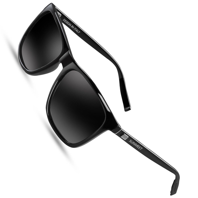 2060b636b5 Polarized Wayfarer Sunglasses for men - SUNMEET Mens Vintage Sun Glasses  UV400 S1001(Black Black)  Amazon.ca  Clothing   Accessories