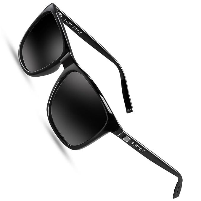 e210d73766 SUNMEET Occhiali da sole Uomo Polarizzati per Uomo Vintage Occhiali da sole  Uomo UV400 Protezione S1001