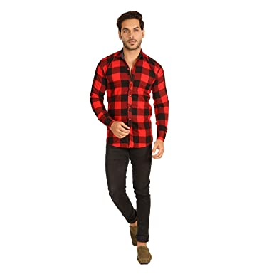 bec10eb231a MESH Casual Check Red Cotton Shirt for Men's