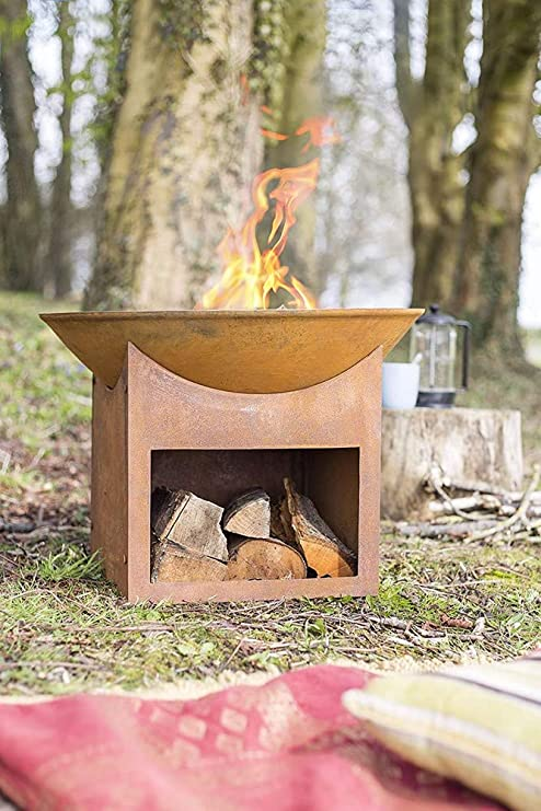 La Hacienda Fasa Oxidised Firepit Natural Rusted Amazon Co Uk Garden Outdoors