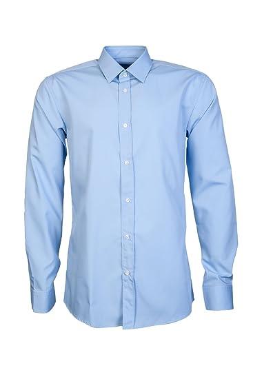 a0a302e1a Hugo Boss Blue Plain Smart Shirt Long Sleeve 15 (38): Amazon.co.uk ...