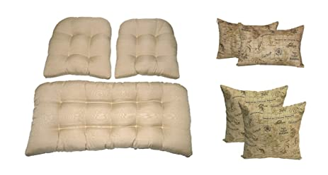 Wicker Cushions And Pillows 7 Pc Set   Solid Tan Tufted Wicker Loveseat U0026 2  Chair
