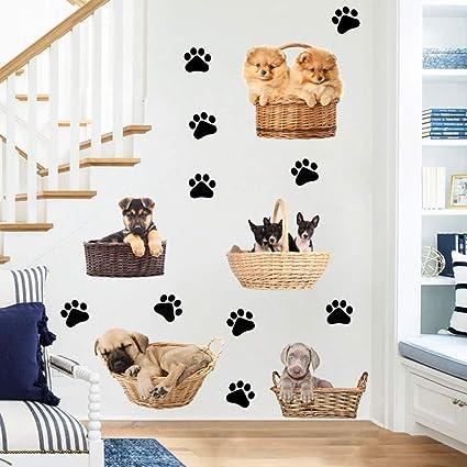 Amazon Com Haixclvye Diy Wall Stickers Cartoon Paw Dog