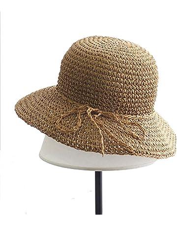 edab9fc0 Ogquaton Sombrero de Paja Mujer Verano Sombrero para el Sol Gorra de Playa  de ala Ancha