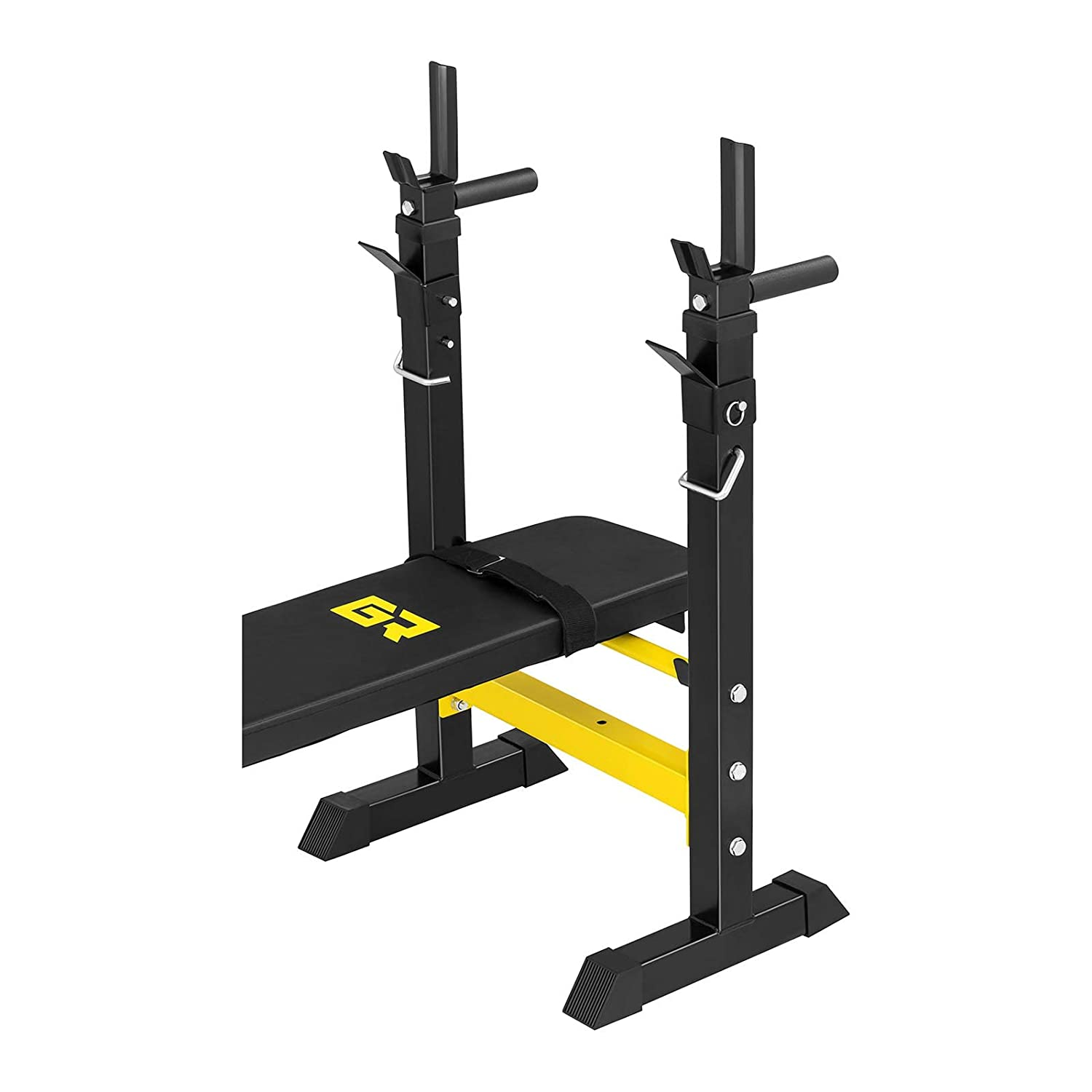 Max. user weight: 110 kg, Max. barbell rack load: 110 kg, Foldable, Optimum padding Gymrex Bench Press Bench With Barbell Rack Dip Station GR-WB5