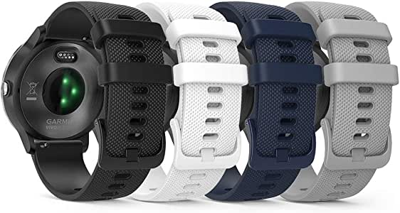 TUSITA Quick Release Band 20mm for Garmin Approach S40, Forerunner 245 645, Venu, Vivoactive 3 Music, Vivomove 3 HR Luxe Style - Silicone Replacement Strap - Smart Watch Accessories (4-Color Pack)
