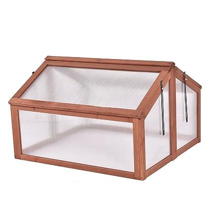 Amazon.com : Cypressshop Greenhouse Wooden Frame Double Box ...