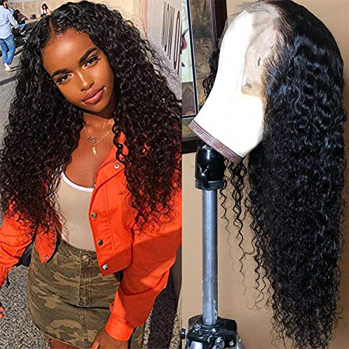 Brazilian 13x6 Deep Wave Lace Front Wigs Human Hair Pre Plucked Lace Front Deep Curly Wigs with Baby Hair Glueless Lace Wigs for Black Women 150% Density Unprocessed Virgin Human Hair(24inch)