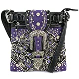 Justin West Turquoise Stone Buckle Rhinestone Western Floral Embroidery Shoulder Handbag | Trifold Wallet (Purple Messenger Only)