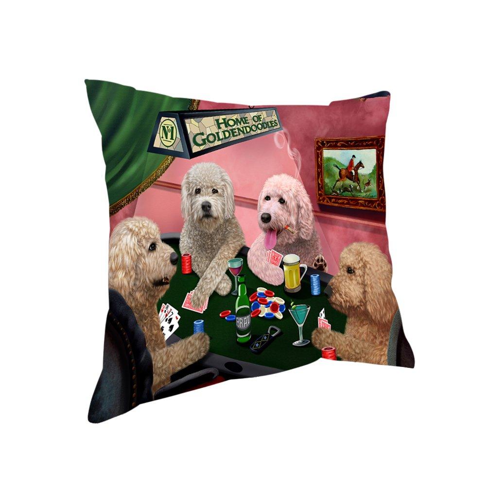 ホームのGoldendoodles 4 Dogs Playing Poker Throw枕 26x26 DOTD-PIL-17772 26x26  B0763BP8S1