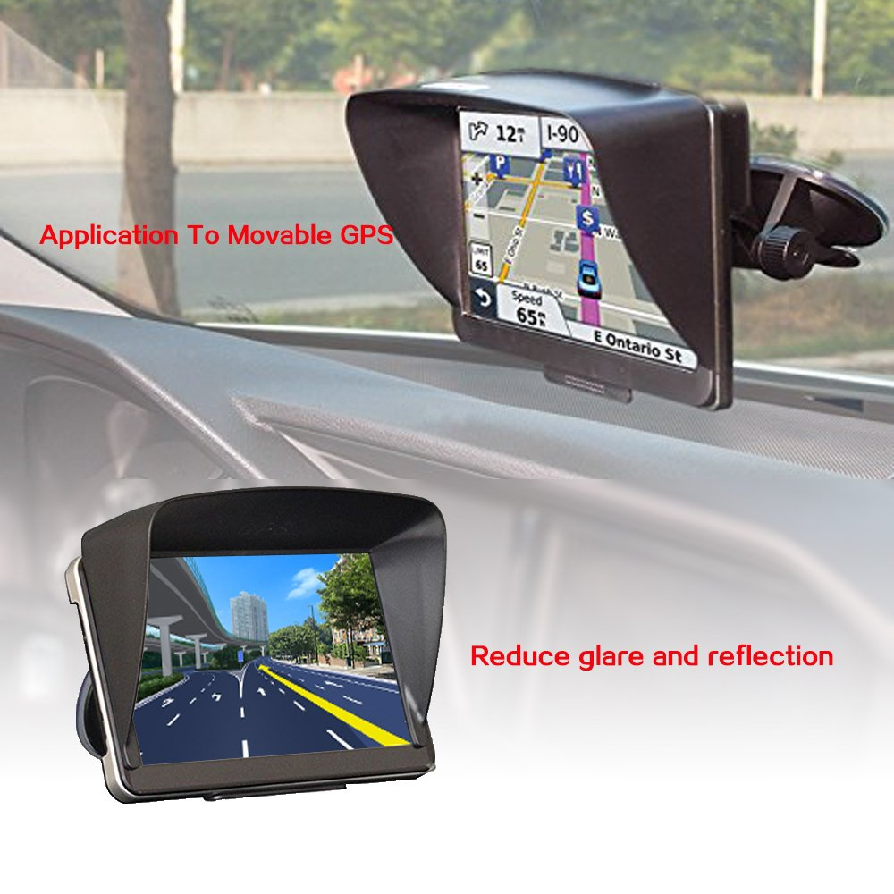 Zepthus Anti Glare Sun Shade Shield Lens Hood Visor Protector Glare Visor For 7 inch Car Vehicle GPS Navigator Monitor