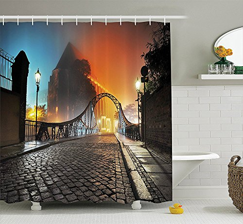 [Apartment Decor Collection Modern City Bridge at Night with Mystical Lights Illumination Sightseeing Urban Photo Polyester Fabric Bathroom Shower Curtain Grey] (Nerd Costumes At Party City)