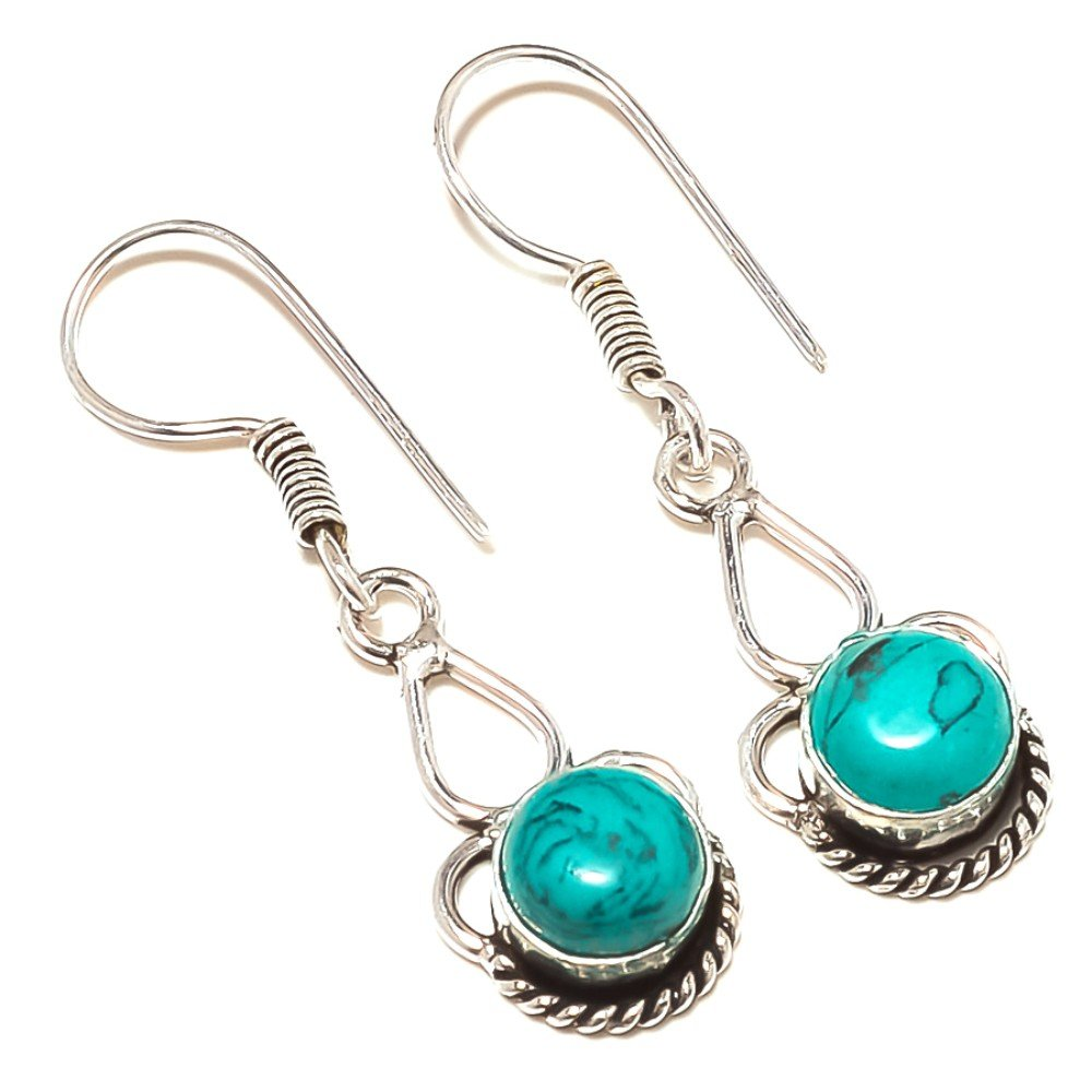 Gift Jewelry Blue Turquoise Sterling Silver Overlay 5 Grams Earring 1.75 Long