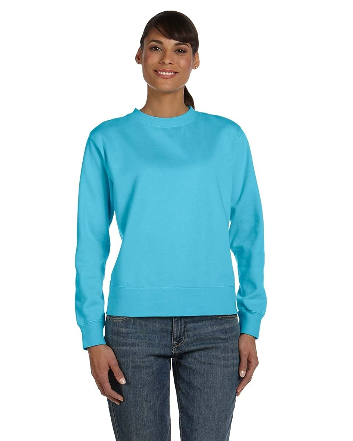 Comfort Colors Ladies' 10 Oz. Garment-dyed Wide-band Fleece Crew - Lagoon Blue - 2xl