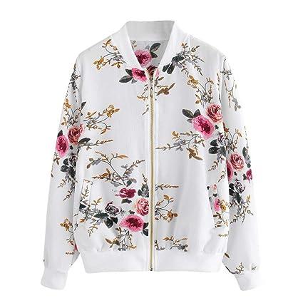 Amazon.com: Womens Retro Floral Printing Zipper Up Bomber ...