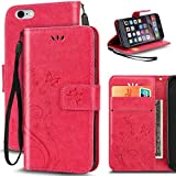 Korecase iPhone 6/6S Case Premiun Wallet Leather Credit Card Holder Butterfly Flower Pattern Flip Folio Stand Case for Apple iPhone 6 6S With a Wrist Strap (Rose)