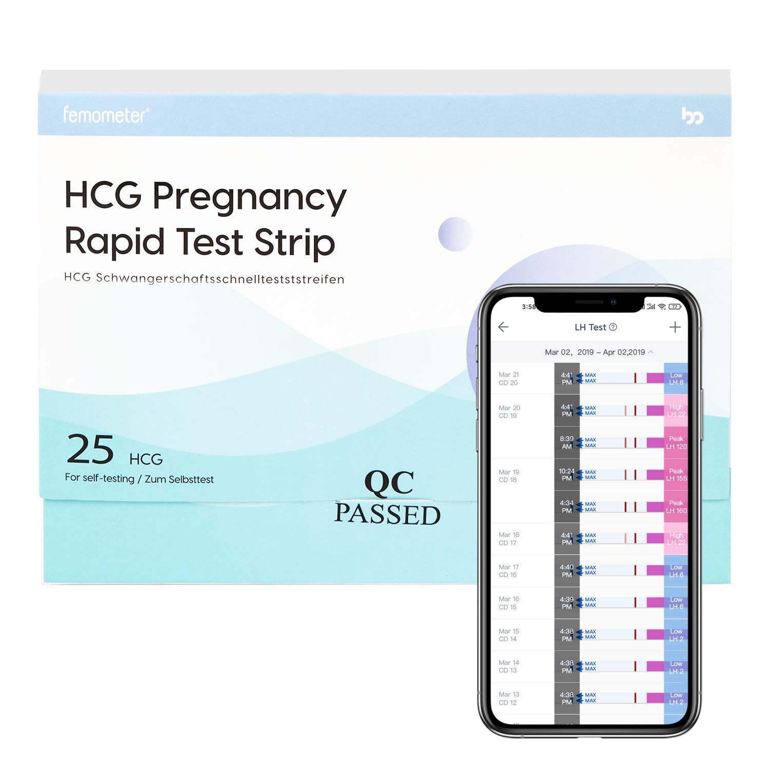 Pregnancy Tests 5 Counts Femometer HCG Pregnancy Rapid Test Strips Early Detection Pregnancy Tests Kit 25 MIU//ml with Fast and Accurate Results