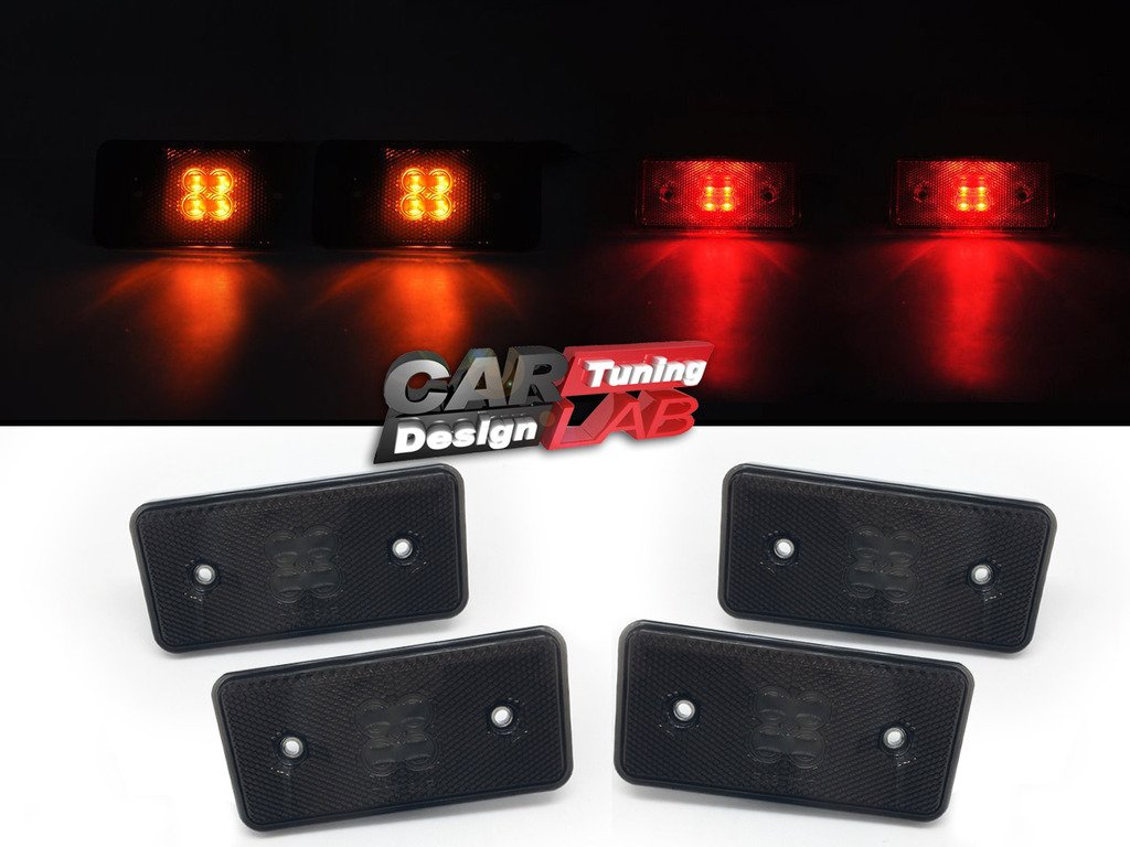(4) LED Side Marker Reflector Smoke Lens For 90-14 Mercedes Benz G Class W463 CAR LAB