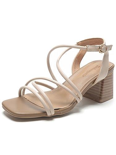 HUAHUA Koreanische Version des High-Heel Schuhe Dick mit Sandalen Frau Sommer in Rom mit Dem Tau-Toe Schuhe mit...