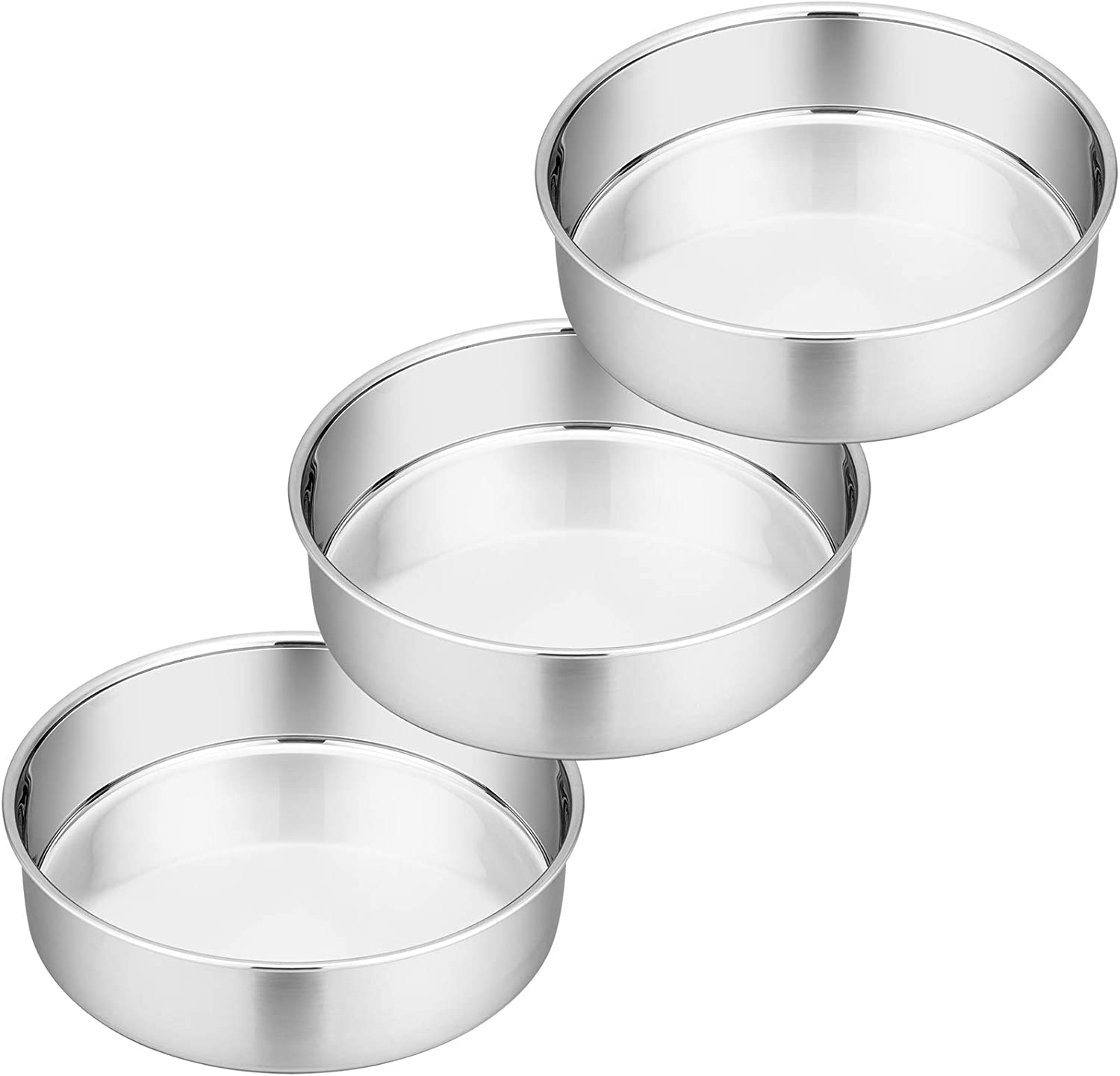 8 Inch Cake Pan Set, 3 Pcs P&P CHEF Round Baking Pans Stainless Steel LayerBirthday Wedding Cake Pans, Fit Oven / Pots / Pressure Cooker, Non Toxic & Heavy Duty, Dishwasher Safe