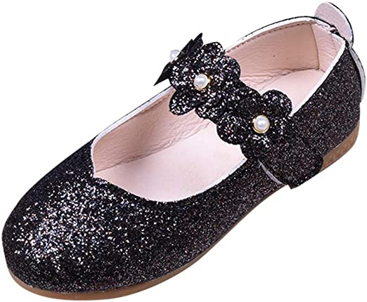Black nn Faux Leather Bow Hook /& Loop Kids Girls Dress Shoes Youth Flats Size 3