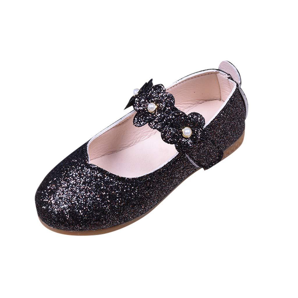 Little Girls Princess Shoes,Jchen Baby Kids Girl Sequin Bling Student Single Dance Princess Shoes Soft Princess Shoes for 1-12 Y (9.5 M US Toddler, Black)