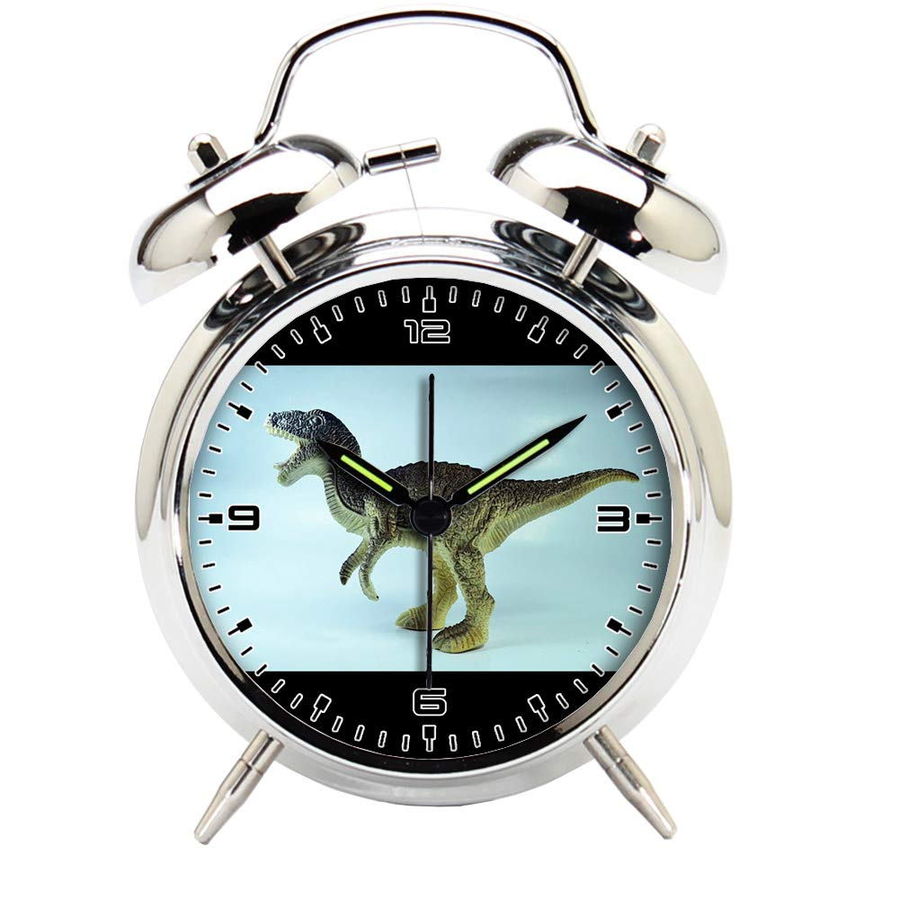 Children's Room Silver Dinosaur Silent Alarm Clock Twin Bell Mute Alarm Clock Quartz Analog Retro Bedside and Desk Clock with Nightlight-524.62_Dinosaur Tyrannosaurus Toy Animal Jurassic