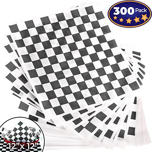 Wholesale Avant Grub Deli Paper 300 Pack. Turn Your Backyard Cookout Party into a Race Day Event with Black And White Checkered Food Wrapping Papers. Grease-Resistant 12x12 Sandwich Wrap Prevents Food Stains free shipping