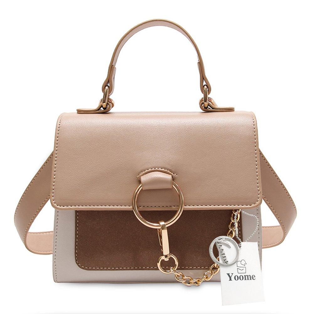 Yoome Mini Satchel Handbags Fashion Shoulder Handbags For Womens Crossbody Bags with Metal Chain Ring Top Handle Bags For Girls - Brown
