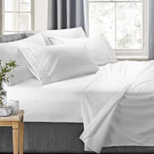 Clara Clark 6-Piece Bed Sheets - Luxury Pleated Sheets Set Bedding Sheet Set, 100% Soft Brushed Microfiber Flat Sheet, Fitted Sheet, Pillowcases Cool & Breathable - Cal King - White