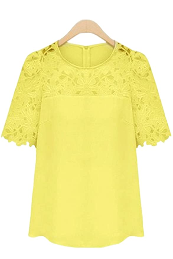 99bc8ead4278ca Zumeet Women Lace Decorated Round Neck Shirt and Blouse Yellow at Amazon  Women s Clothing store