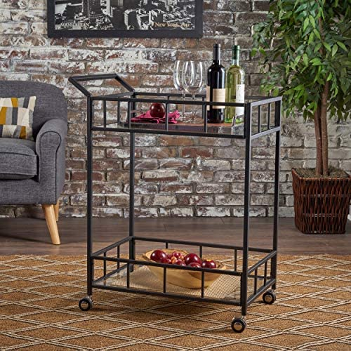 Christopher Knight Home Falon Indoor Industrial Modern Iron Bar Cart with Tempered Glass Top, Black