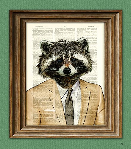 Raccoon Art Print Well-Suited Raccoon Illustration Beautifully Upcycled Dictionary Page Book Art Print 3