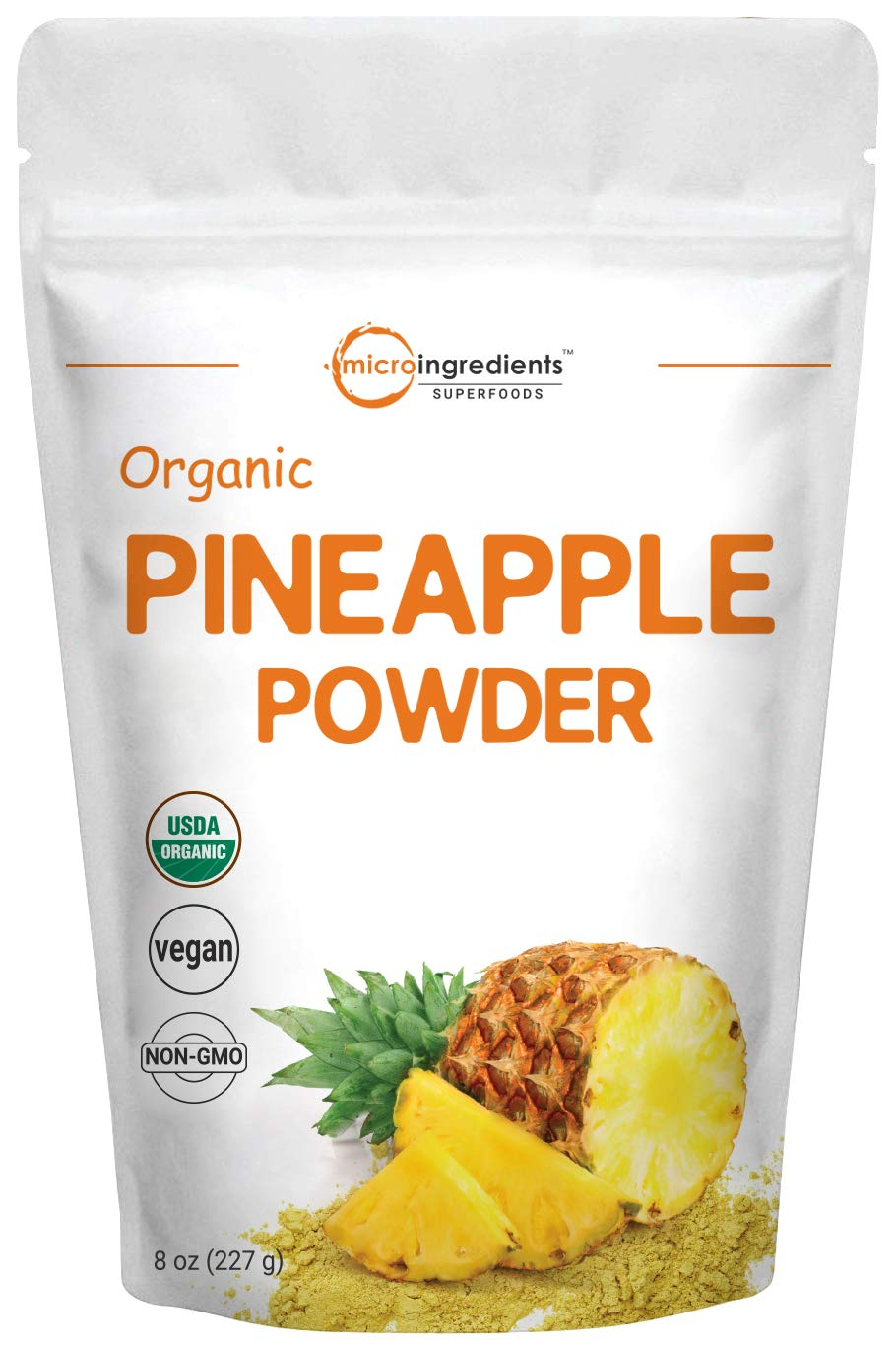 Micro Ingredients Organic Pineapple Powder, 8 Ounce, Rich in Natural Vitamins and Great Flavor for Drinks, Smoothie and Beverages, Non-GMO and Vegan Friendly
